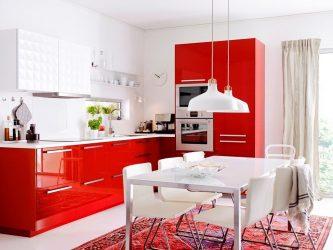 인테리어에 대한 우리의 인식에 영향을 미치는 색상의 마법 : 밝은 색상의 빨간 부엌 디자인 (115+ 사진)