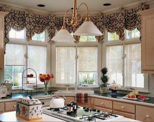Reka bentuk tirai lambrequin di dapur (145 + Foto): bukan tugas pendaftaran yang mudah tetapi mudah diurus
