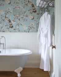 Apakah kertas dinding terbaik untuk gam di bilik mandi? Cecair, vinil, basuh, tahan kelembapan - pilih yang paling praktikal (115+ Foto)