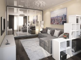 230+ Photos Interior Ideas 1st (one-room) Apartments of 40 sq.m. Simple and stylish modern design