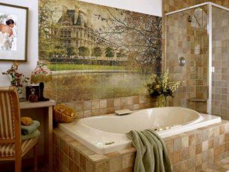 Pilihan jubin bilik mandi: 185+ (Foto) pilihan dinding