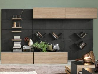 Dinding almari yang cantik di ruang tamu: 140+ gambar dinding besar dan modular