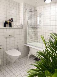 Pilihan langsir di bilik mandi: 175+ (Foto) untuk reka bentuk anda (kain, plastik, kaca)