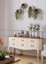 Ciri-ciri Dresser putih 200+ (Gambar) pilihan (berkilat, dengan laci, tanpa pemegang)