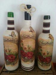 Yeni Yıl için Dekupaj şişeleri (170+ Fotoğraf). DIY takı Yeni fikirler ve atölye çalışmaları