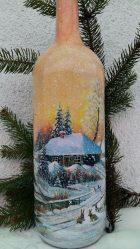 Yeni Yıl için Dekupaj şişeleri (170+ Fotoğraf). DIY takıYeni fikirler ve atölye çalışmaları