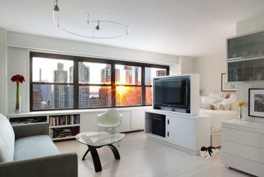 Zonasi ruang tamu dan bilik tidur di bilik yang sama (235+ Gambar Reka Bentuk): gunakan ruang dengan manfaat dan kemudahan