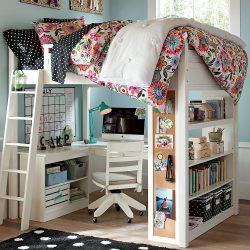 Katil loteng dengan ruang kerja (165+ Foto): Idea asal untuk bilik kecil