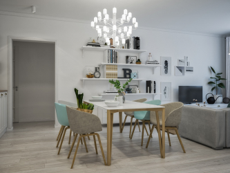Dining area in the kitchen: Zoning, Light and Finishing.How to select and design using simple ideas? (170 + Photos)