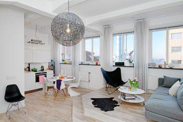 Studio Apartment: Penyelesaian gaya dengan elemen hiasan.205+ Photo Ideas interior moden