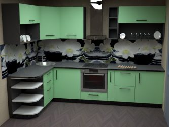 Reka bentuk Dapur Sudut: 175+ Penyelesaian Foto untuk Alat Dengar Dapur