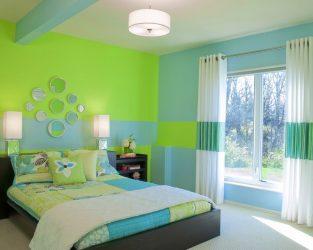 Bagaimana untuk membuat dalaman bilik tidur hijau tempat terbaik untuk berehat? 175+ (Foto) Pilihan reka bentuk (langsir, kertas dinding, dinding)