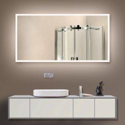 Cermin di bilik mandi dengan lampu (200+ Foto): Praktikal dan keaslian idea itu. Pilih aksesori tambahan (soket / jam / dipanaskan)