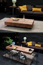 Apa yang perlu dicari ketika memilih meja kopi? 225+ (Foto) Pilihan dari kayu, kaca, roda
